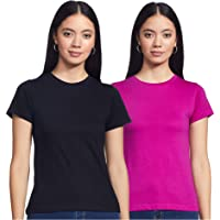 T2F Women's Regular fit T-Shirt (Pack of 2)