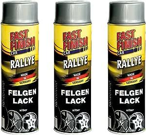 3x 500ml Fast Finish Rallye Felgenlack Felgenspray Felgensilber Silber Lackspray Baumarkt