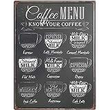Art Street Coffee Menu Retro Metal Tin Signs Poster -12x16 Inches
