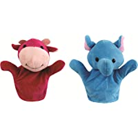 Skylofts 20cm Rabbit, Frog, Cow, Monkey Animal Hand Puppets for Boys & Girls , Multi Color (Pack of 2)