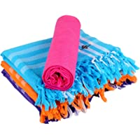 Sathiyas Cotton Bath Towel Pack of 4 (Blue, Lavender, Pink, Orange) (Color by Color 4)