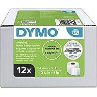 DYMO LW grandes étiquettes autocollantes pour expéditions et badges nominatifs, 54 mm x 101 mm, 12 rouleaux de 220…