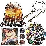 Attack On Titan Gift Set Bag ErenJaeger Gold Key Pendant Necklace Pillow Case