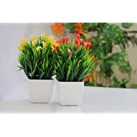 VINTAGEART Natural Looking Artificial Bonsai Plant with Pot for Home Decor (Set of 2)(Red/Yellow)