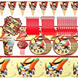 REYOK Naruto Party Supplies Juego de Decoración,92pcs Party Supplies Juego de Decoración Happy Birthday Party Vajilla para Cu