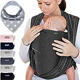 Portabebés gris oscuro - para recién nacidos y bebés hasta 15 kg - hecho de algodón suave
