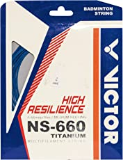 Victor NS-660Ti (0.6mm x 10mm) High Resilience Badminton String Available in 6 Different Color (Pack of 2) (Blue)