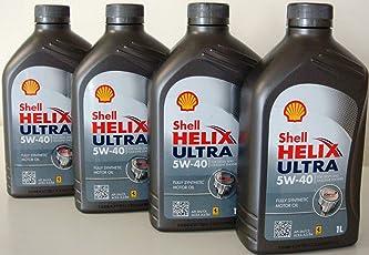 Shell Helix Ultra 5w40 Olio Motore 100% sintetico API SM/CF ACEA A3/B3/B4 4 barattoli da 1 litro = 4 Litri (Euro/lt 8,50)