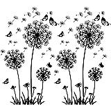 2 stuks zwarte muurtattoo paardenbloemen voor wanddecoratie, XXL grote paardenbloem, bloemen, planten, muurstickers, muurstic