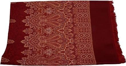 K. Oswal Women's Wool Jaicard Boader Shawl (1217-MR, Maroon, Free Size)