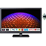 Sharp 1T-C24BE0KR1FB (24BE0K) 24 Inch HD Ready LED Smart TV with Freeview Play, Built-in DVD player, 2 x HDMI, SCART, USB Media Player - Black