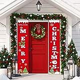 Sayala Decoración de la Fiesta de Navidad,Rojo Navidad Banner Guirnalda - Bienvenido & Feliz Navidad -Decorativo para Fiestas