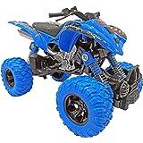 Popsugar Pull Back ATV Spring Shock Absorber Suspension System Monster Bike with Rubber Wheels for Kids, Blue