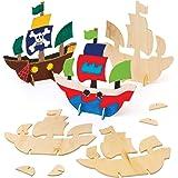 Baker Ross Piratenschip van hout om neer te zetten (6 stuks) – voor kinderen om te knutselen en vorm te geven van 3D-piratens