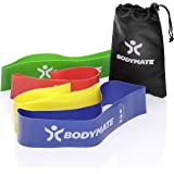 BODYMATE Fitnessbandenset met 4 sterktes en transporttas - 60 cm omtrek x 5 cm breedte - Gymnastiekbanden, band loops van nat