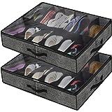 homyfort Lot de 2 Sac De Rangement pour Chaussures avec fenêtre Transparente - Organiseur à Chaussures pour Rangement 12 Comp