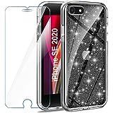AROYI Funda Compatible con iPhone SE 2020 iPhone 7 iPhone 8 Glitter y Protector de Pantalla Vidrio Templado, Carcasa Liquid C