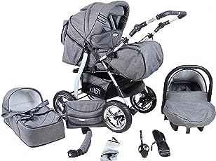 Clamaro 'VIP 2018' Premium Kinderwagen 3 in 1 Kombi (40 Farben) Kinderwagenkombi Komplettset mit Soft Babywanne, Sport Buggy und Autositz Babyschale Gruppe 0+ (0-13 kg)