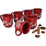 MamboCat Set van 6 glühweinbekers 0,2 l rood kerstlandschap   klassieke porseleinen glühweinbekers   geijkt   ideaal voor de