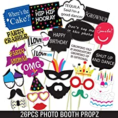 Party Propz Kids Fun Birthday Photo Booth (Multicolour,HAPPH08) - Set of 26 Pieces