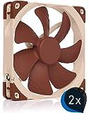 Noctua Bundle: 2x NF-A14 PWM, Premium Quiet Fan, 4-Pin (140mm, Brown)