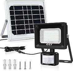 Faretto Solare con Sensore di Movimento CLY di 60 LED, Lampada Solare da Esterno Impermeabile(IP66), Luci Solari da Esterni, 6000K Bianco, per Terrazza, Balcone, Cortile, Muro e Campeggio