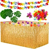 Yojoloin 39 st hawaiianska tropiska festdekorationsset, hawaiiansk bordskjol (276 x 75 cm) + 12 st palmblad + 24 st hawaiians
