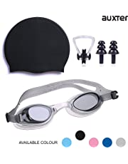 ffb31fa50c0f Auxter Swimming Kit with Swimming Goggles Silicone Swimming Cap + 1 Nose  Clip + 2 Ear