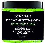Skinsalad Tea Tree Overnight Face mask with Tea tree, Neem, Aloevera, anti acne gel mask, blemish and dark spot removal...