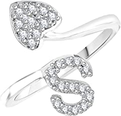 """Meenaz Adjustable Free Size Silver """"S""""Alphabet Finer Rings For Girls And Women -559"""