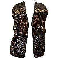 Womens Vintage Style Ethnic Embroidered Boho Hippie Waistcoat Freesize up to Size 16 p010