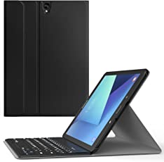 MoKo Wireless Bluetooth Keyboard Cover for Samsung Galaxy Tab S3 9.7-inch Android 7.0 (Black)