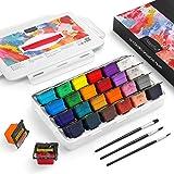 Magicfly Gouache färgset kit, 24 färger x 30 ml (1 oz) unik gelé kopp design med 3 färgborstar och ett handhållet bärbart bär