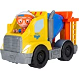 """Blippi Cement Truck - Mini Vehicle with Freewheeling Features Including 2"""" Character Toy Figure Construction Worker - Imagina"""