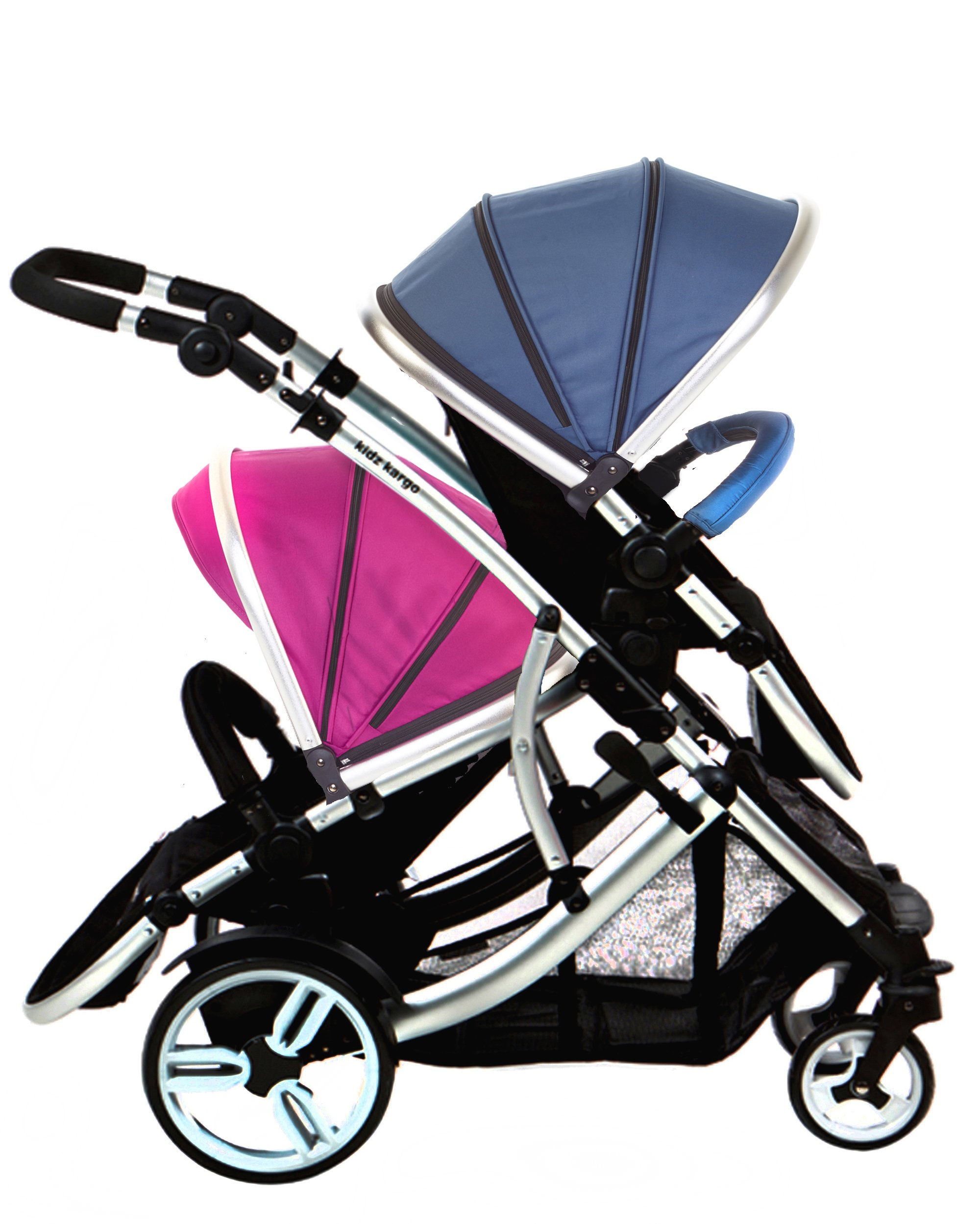 Kids Kargo Duellette 21 BS Travel System Pram Double Pushchair (Raspberry and Blueberry) Kids Kargo Suitability Newborn Twins (if used with car seats) or Newborn/toddler. Various seat positions. Both seats can face mum (ideal for twins) Accommodates 1 or 2 car seats 3
