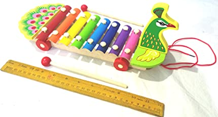 Crafts India Wooden Xylophone for Kids Musical Pull Along Toy with 8 Notes Multi Color Premium Big 12 inches