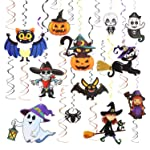 COOLMI Halloween Party Pendant Decorations, Hanging Swirl Ceiling and Wall Pumpkin Witches Hats Bats Ghost Cards...