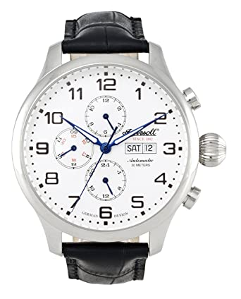 ingersoll men s automatic watch white dial chronograph ingersoll men s automatic watch white dial chronograph display and black leather strap in3900sl ingersoll amazon co uk watches