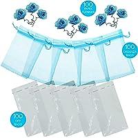 GiuViRo® 100 Sacchetti Organza 7x9cm 100 Bustine Plastica Trasparenti 100 Fiori Bomboniere Gioielli Confetti Caramelle…