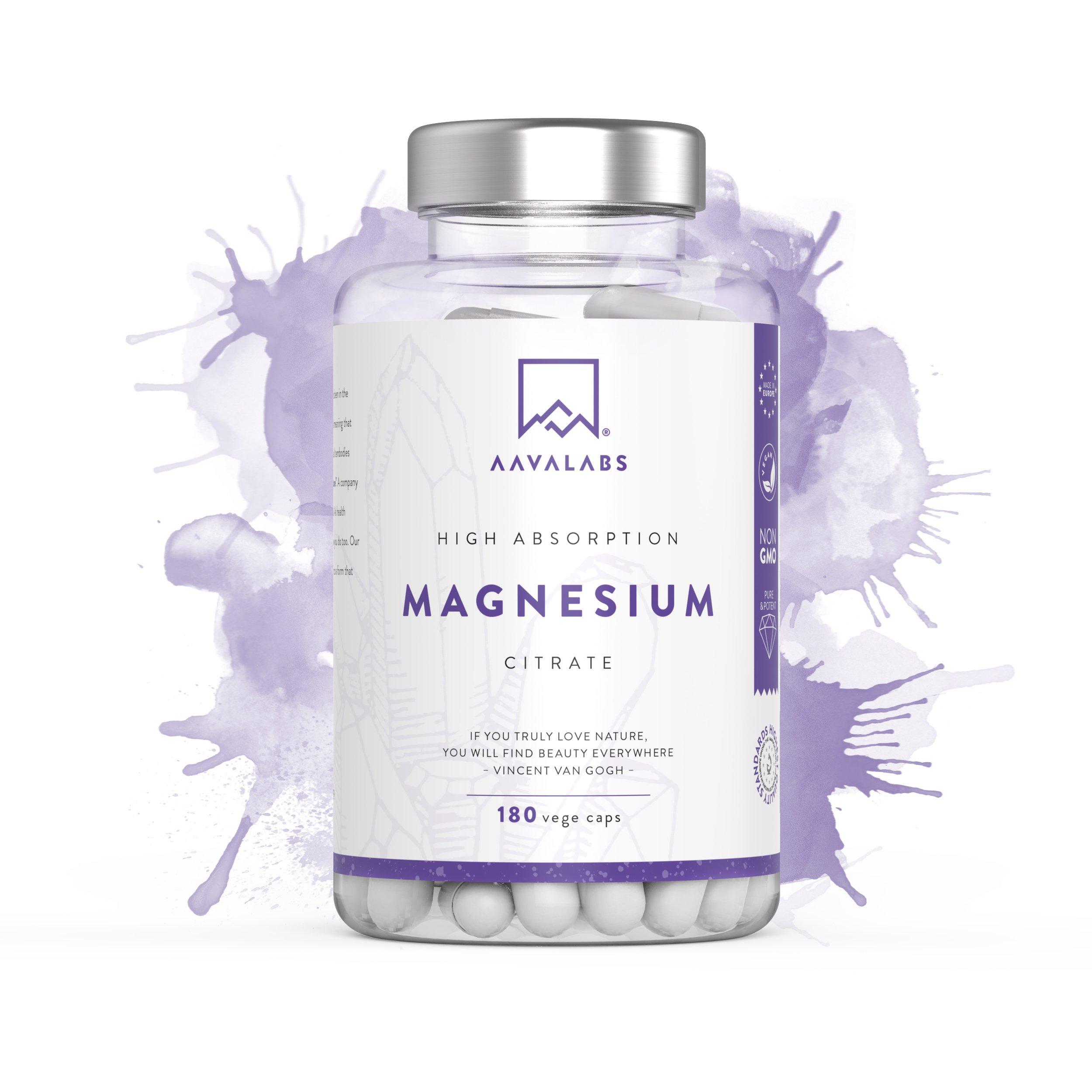 Suplemento de citrato de magnesio [ 400 mg ] de Aava Labs – Para el apoyo de un funcionamiento normal de los huesos, sistema nervioso y músculos – Sin transgénicos y vegano – 180 Cápsulas.