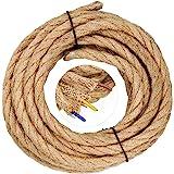 WEKON Fil de Lin Électrique à 3 Conducteura, 3 x 0.75mm2 Câble Cordon d'alimentation 5M Rétro Tressé Industriel Corde, pour D