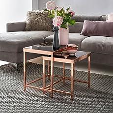 Fantastisch FineBuy Design Couchtisch PATRIS Glas Kupfer 2er Set | Wohnzimmertisch  Modern Mit Glasplatte Verspiegelt | Beistelltisch