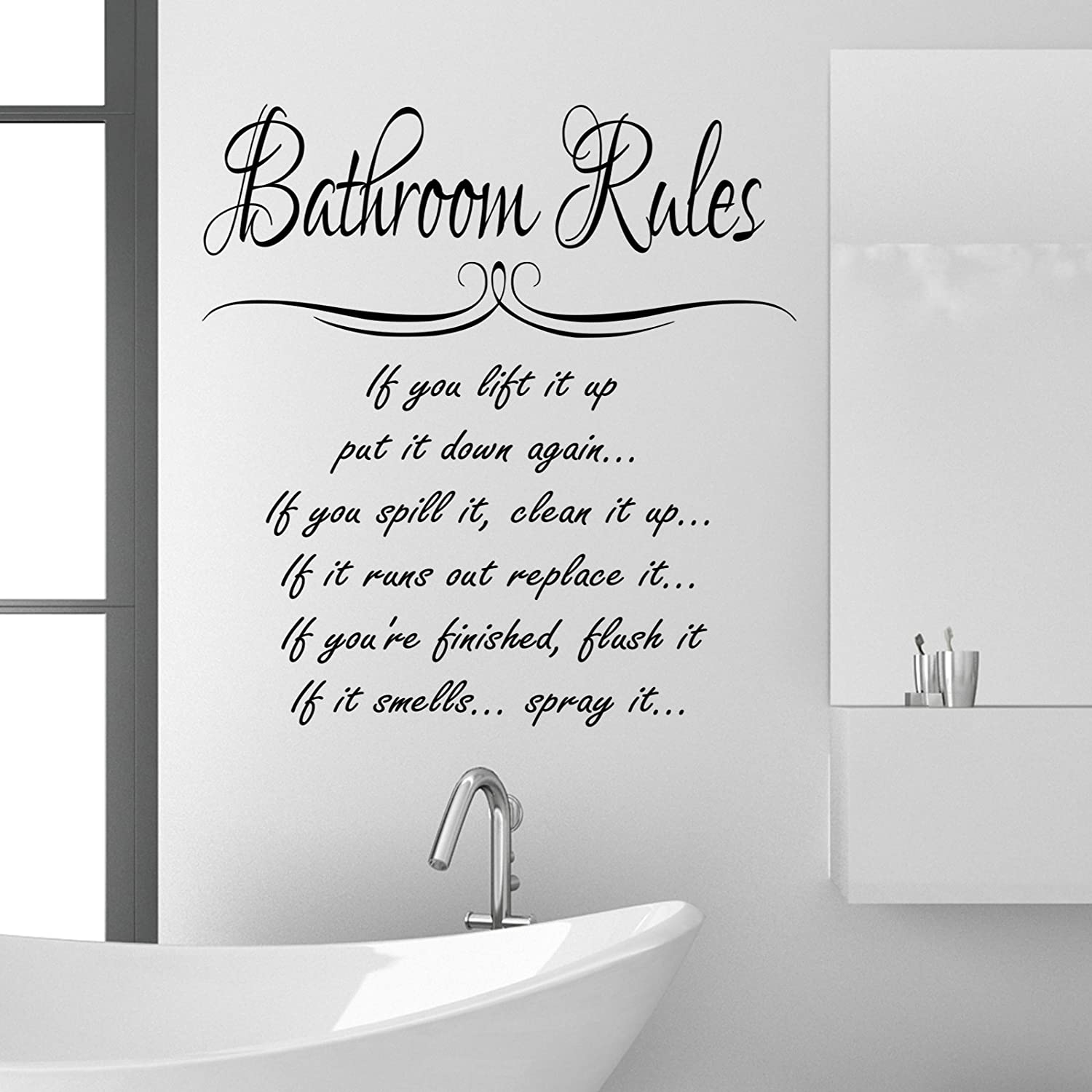 Bathroom Rules Wall Sticker Quote Funny Vinyl Decal Graphic Transfer Mural  Art 55x100 (Black): Amazon.co.uk: Kitchen U0026 Home Part 43