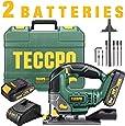 Seghetto Alternativo a Batteria, TECCPO Sega Elettrico, 2×2.0Ah Batterie 18V, 1 Ora Ricarica Rapida 2.0A, Illuminazione LED, 0~2300rpm, Angolo Max 45° con 6 Lame, Scatola Rubusta - TDJA22P