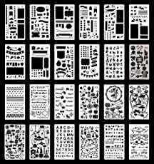 Coxeer DIY Bullet Journal Stencils, 24Pcs Drawing Template Decorative Journal Template Planner Stencils for Notebook Or DIY