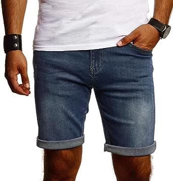 Björn Swensen Pantaloni corti da uomo, elasticizzati, slim fit, basic, in denim, per il tempo libero, colore bianco, BS9015