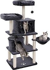 SONGMICS Stabiler Kratzbaum mit Sisal-Kratzstangen, Plüsch-Sitzmulden, Einem Korb und 2 Häuschen, Kletterbaum für Katzen