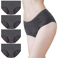 Momoshe Culotte Menstruelle Femme Lot de 4 Coton Flux Abondant Absorbante Slip Regle Anti Fuite Périodique Lavable