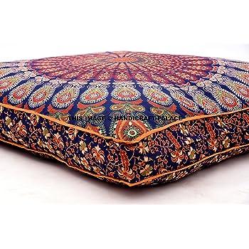 Grande housse de coussin de sol carrée avec un motif de mandala