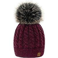 4sold Winter Cappello Set da Donna Taglia Unica di Lana di Mohair e Sciarpa Invernale di Lana Berretto Beanie Fodera in…